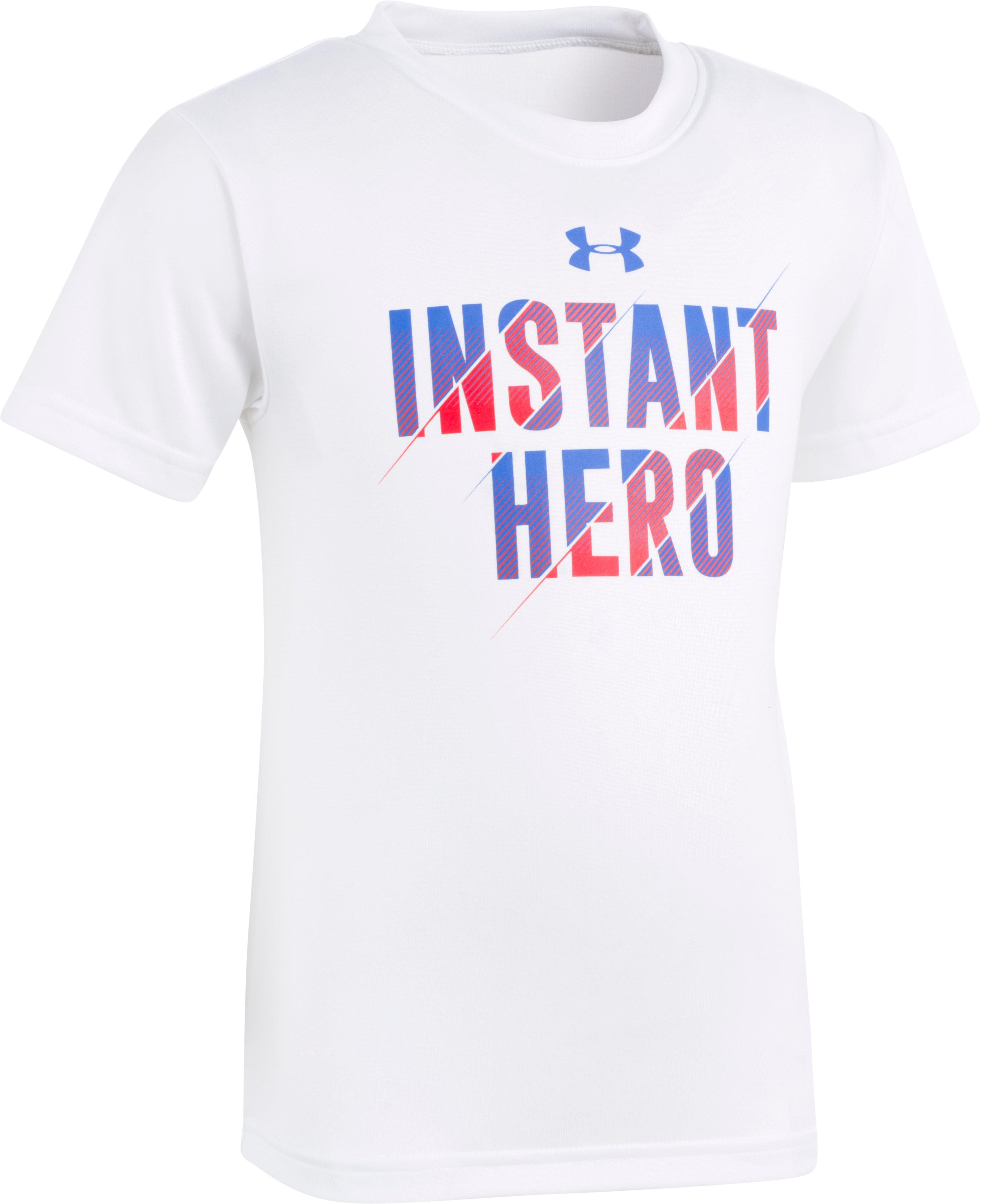 Boys' Pre-School UA Instant Hero Short Sleeve, White, Laydown