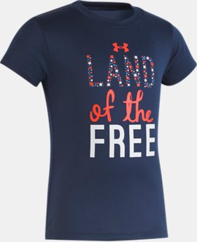 New Arrival Girls' Pre-School UA Land Of The Free Short Sleeve FREE U.S. SHIPPING 1  Color Available $18
