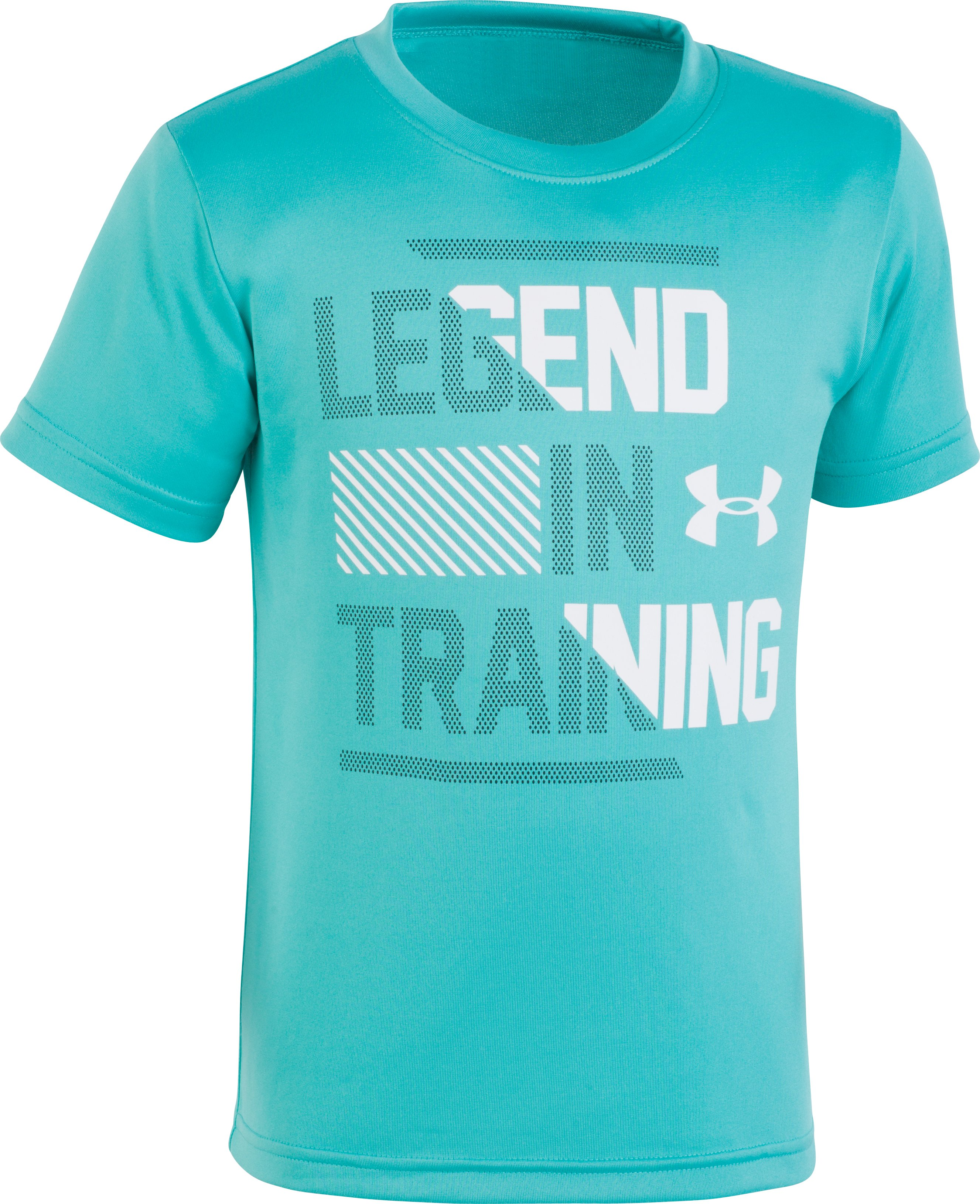 Boys' Pre-School UA Legend In Training Short Sleeve, Teal Punch, Laydown