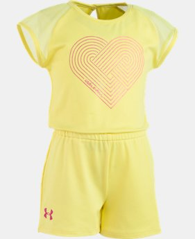 Girls' Pre-School UA Linear Heart Romper  1  Color Available $30