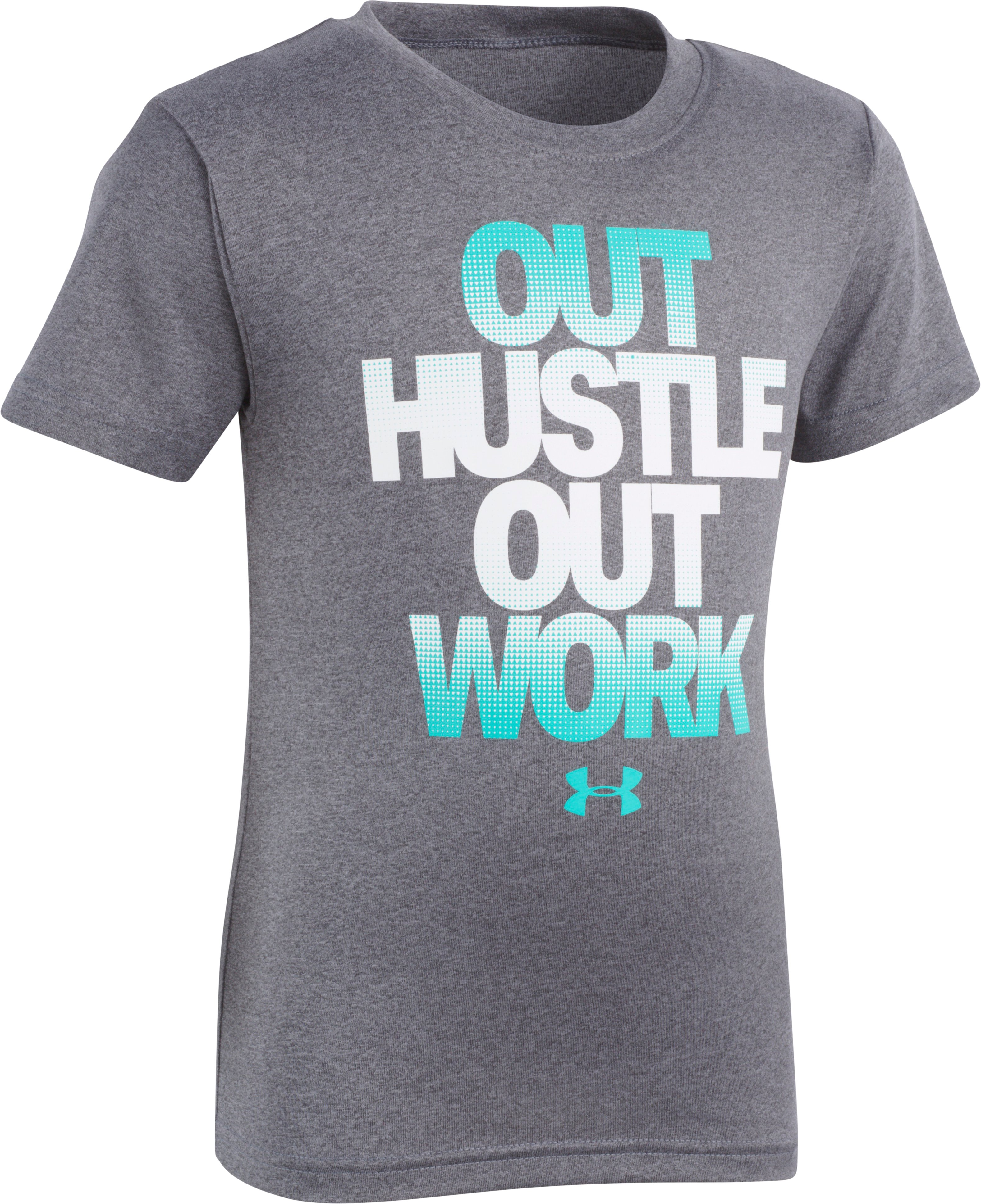 Boys' Toddler UA Out Hustle Out Work Short Sleeve, Charcoal Medium Heather, zoomed
