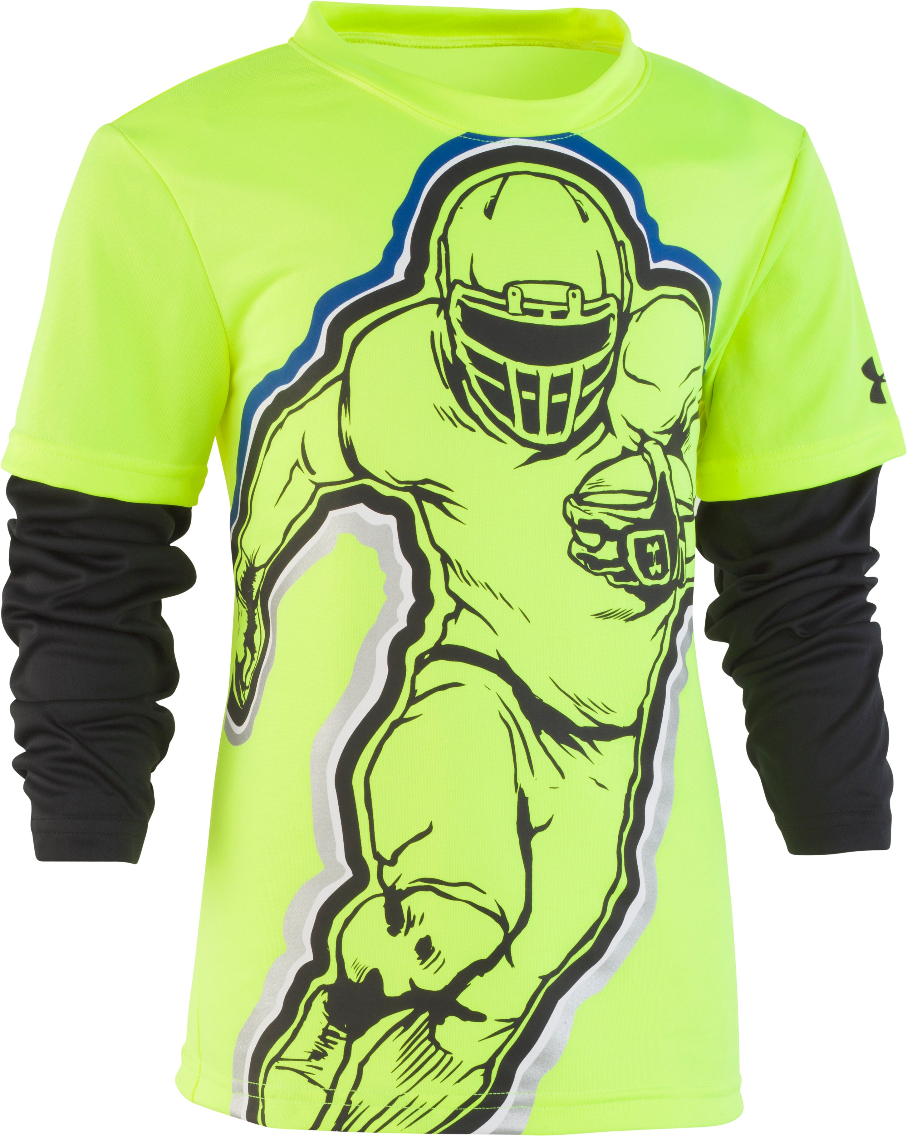 Boys' Infant UA Football Hero Slider, High-Vis Yellow, Laydown