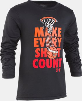 New Arrival Boys' Pre-School UA Make Every Shot Count Long Sleeve   1  Color Available $23