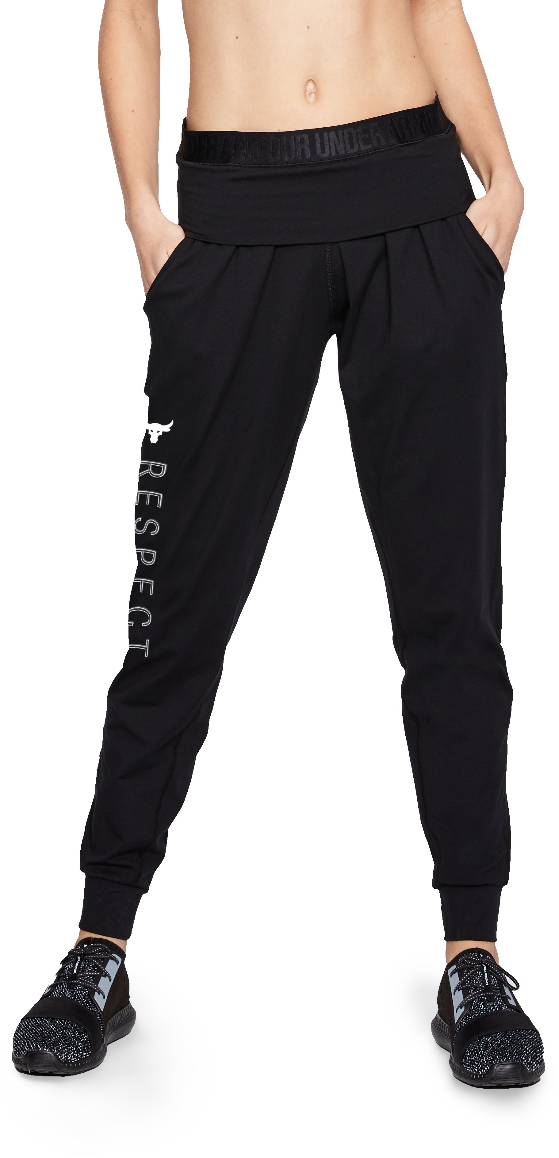 Women's UA x Project Rock USDNA Joggers, Black , zoomed