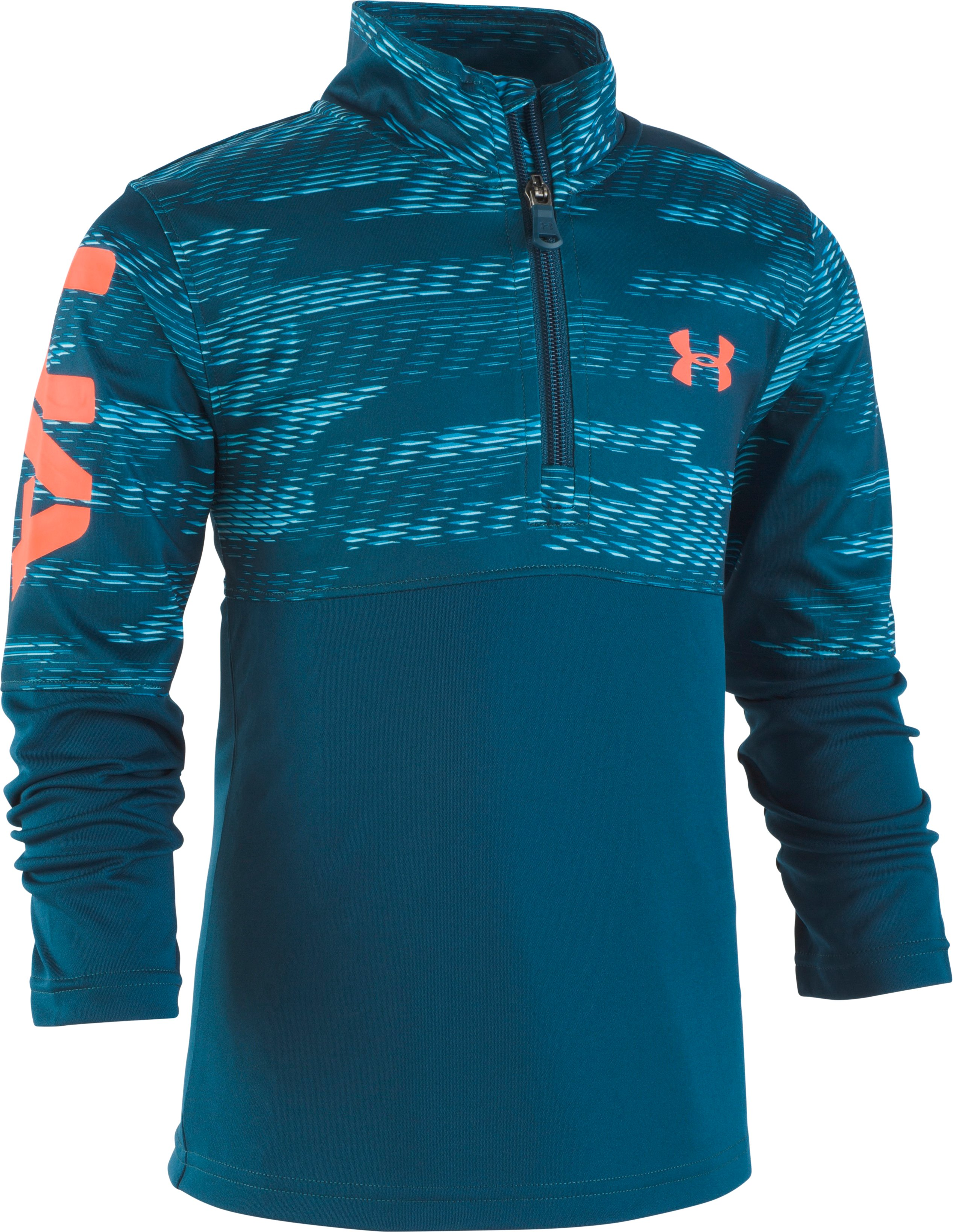 Boys' Pre-School UA Travel ¼ Zip, Techno Teal, zoomed