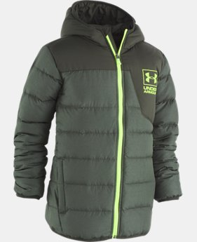 New Arrival Boys' Pre-School UA Heather Swarmdown Hooded Jacket   1  Color Available $100