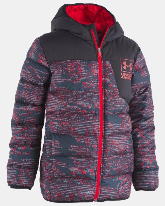 Boys' Toddler UA Printed Swarmdown Hooded Jacket, Red, pdpMainDesktop image number 0