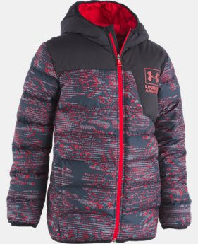 Boys' UA Printed Swarmdown Hooded Jacket   1  Color Available $115