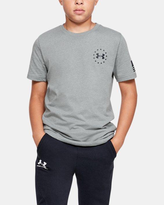 Boys' UA Freedom Flag T-Shirt, Gray, pdpMainDesktop image number 0