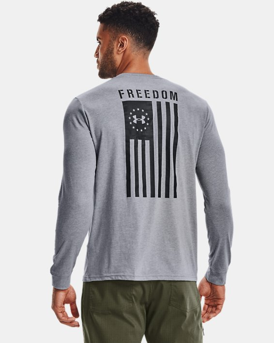 Men's UA Freedom Flag Long Sleeve T-Shirt, Gray, pdpMainDesktop image number 2