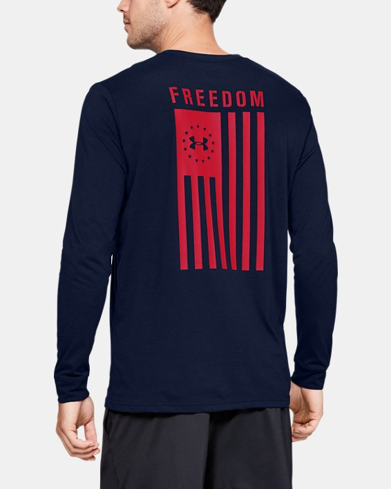 Men's UA Freedom Flag Long Sleeve T-Shirt, Navy, pdpMainDesktop image number 2