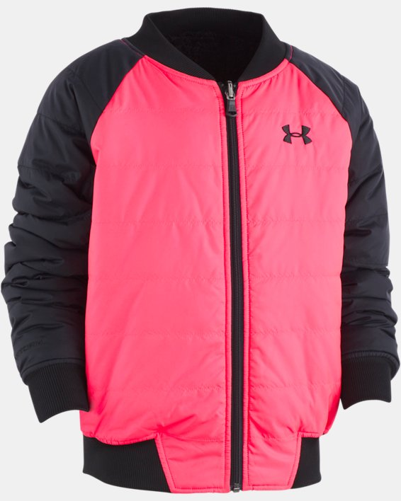 Girls' UA Reversible Bomber Jacket, Pink, pdpMainDesktop image number 0