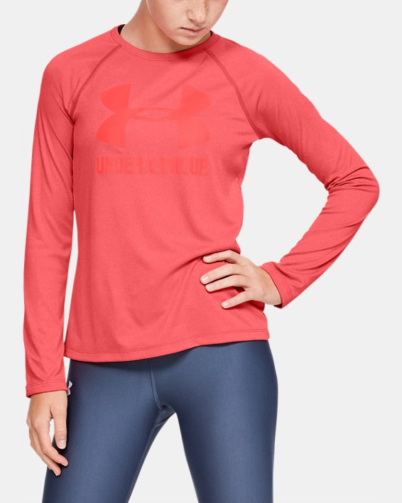 Girls' UA Big Logo Long Sleeve Shirt, Orange, pdpMainDesktop image number 0