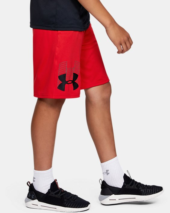 Boys' UA Prototype Logo Shorts, Red, pdpMainDesktop image number 3