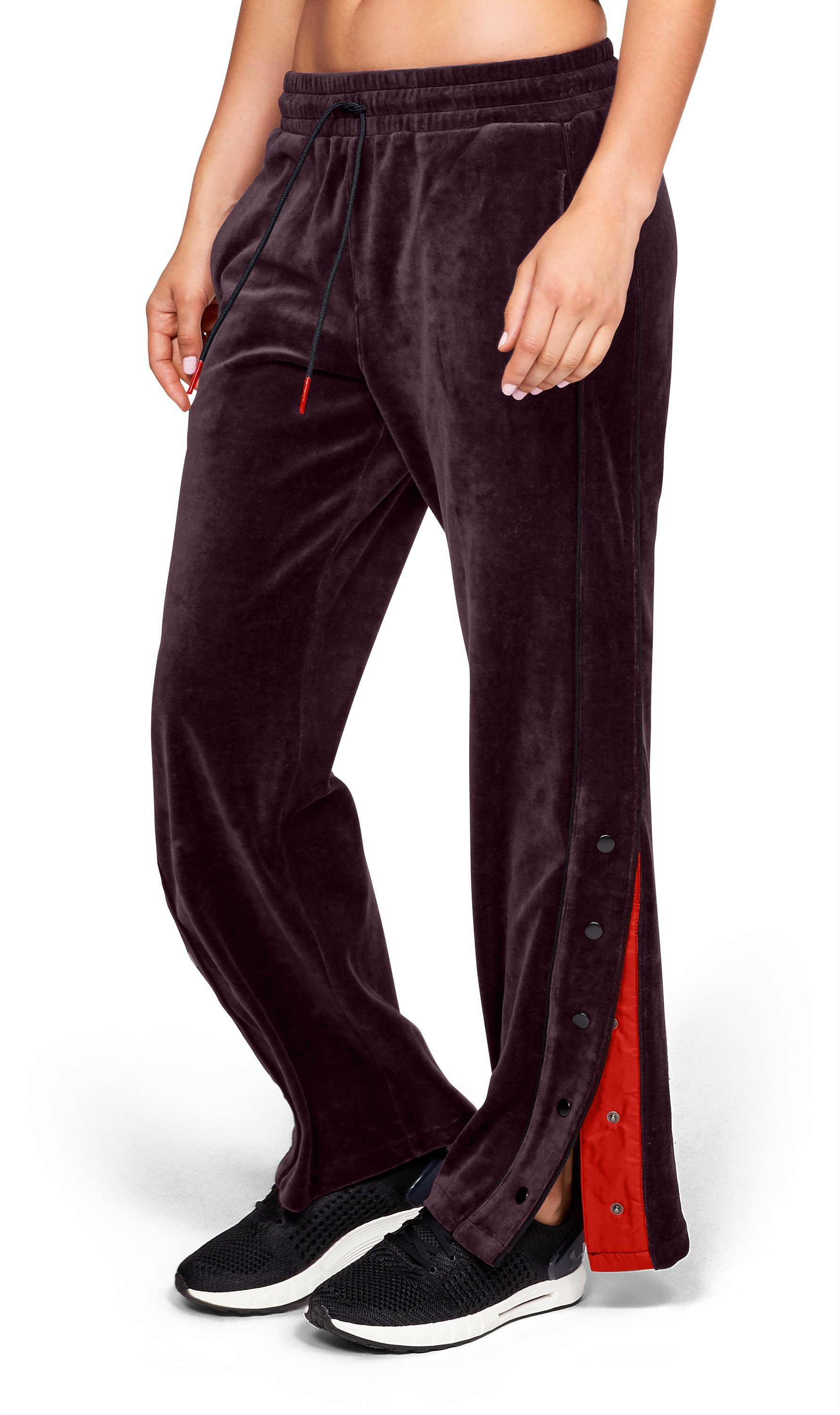 Women's UA Be Seen Velour Tear Away Pants, DARK MAROON, zoomed