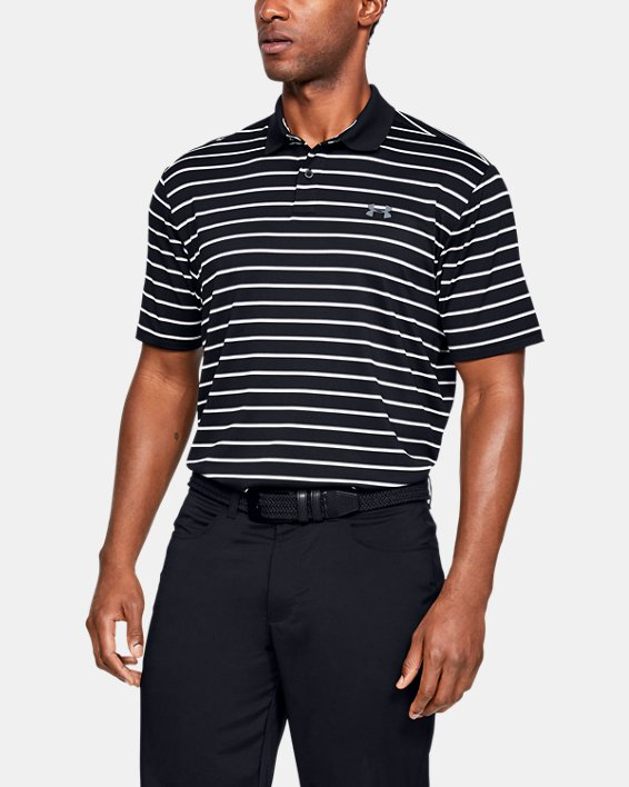 Men's UA Performance Polo Textured Stripe, Black, pdpMainDesktop image number 0