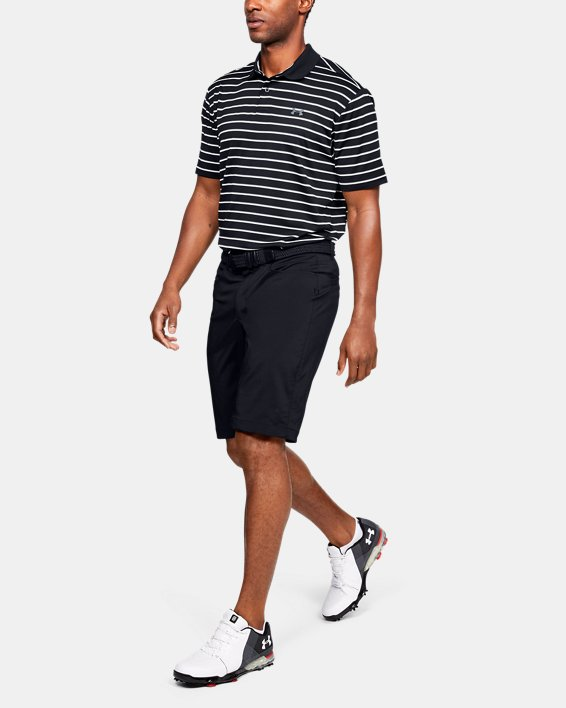 Men's UA Performance Polo Textured Stripe, Black, pdpMainDesktop image number 1
