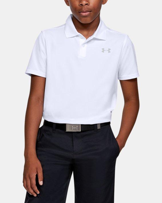 Boys' UA Performance Polo Textured, White, pdpMainDesktop image number 0