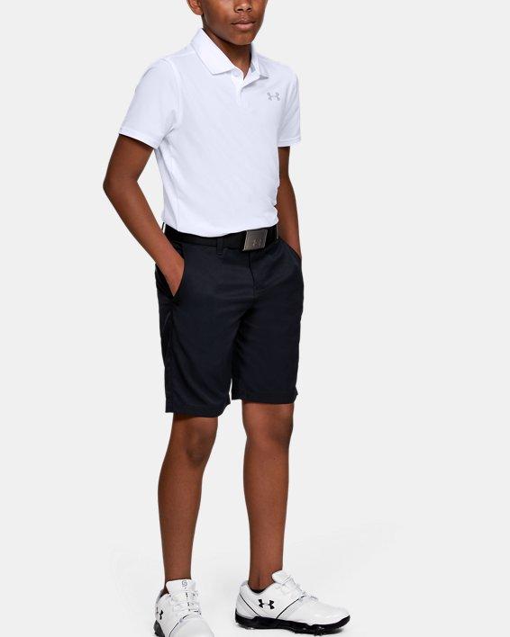 Boys' UA Performance Polo Textured, White, pdpMainDesktop image number 1