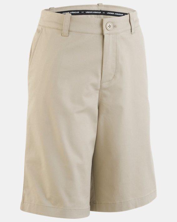 Boys' UA Uniform Chino Slim Fit Shorts, Brown, pdpMainDesktop image number 2