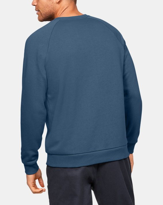 Men's UA Rival Fleece Crew, Blue, pdpMainDesktop image number 2