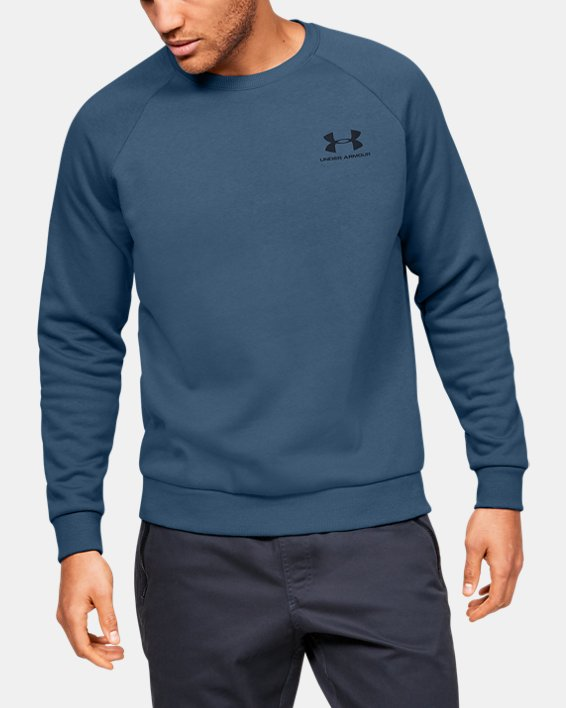 Men's UA Rival Fleece Crew, Blue, pdpMainDesktop image number 0