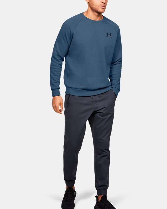 Men's UA Rival Fleece Crew, Blue, pdpMainDesktop image number 1