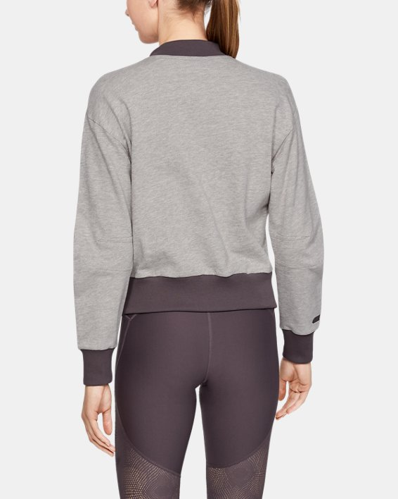Women's UA Unstoppable Terry Full Zip, Gray, pdpMainDesktop image number 2