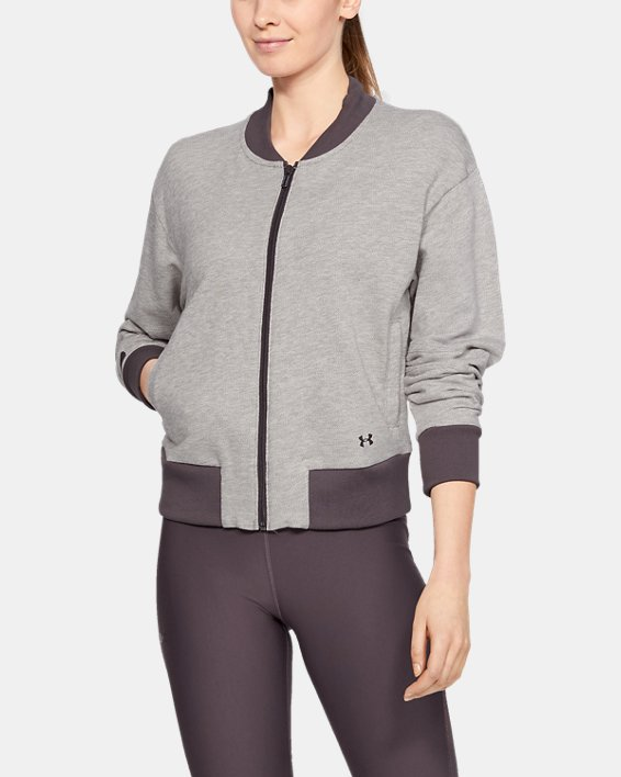 Women's UA Unstoppable Terry Full Zip, Gray, pdpMainDesktop image number 1