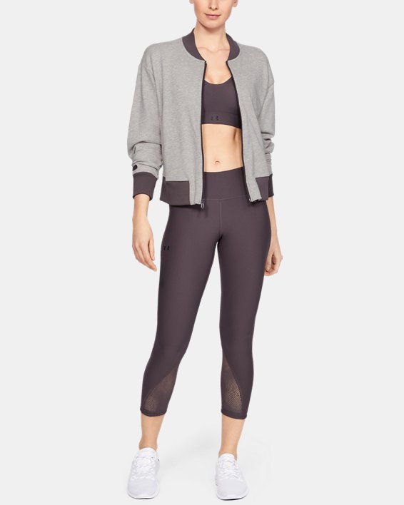 Women's UA Unstoppable Terry Full Zip, Gray, pdpMainDesktop image number 0