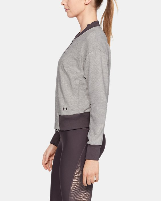 Women's UA Unstoppable Terry Full Zip, Gray, pdpMainDesktop image number 3