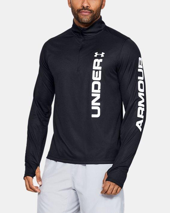 Men's UA Speed Stride Split ¼ Zip, Black, pdpMainDesktop image number 2