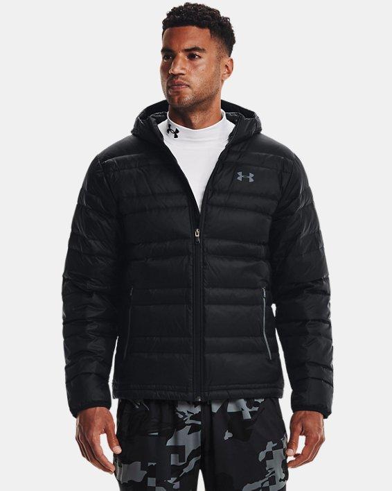 Men's UA Armour Down Hooded Jacket, Black, pdpMainDesktop image number 1
