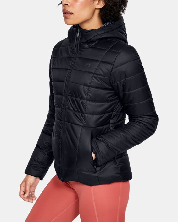 Women's UA Armour Insulated Hooded Jacket, Black, pdpMainDesktop image number 3