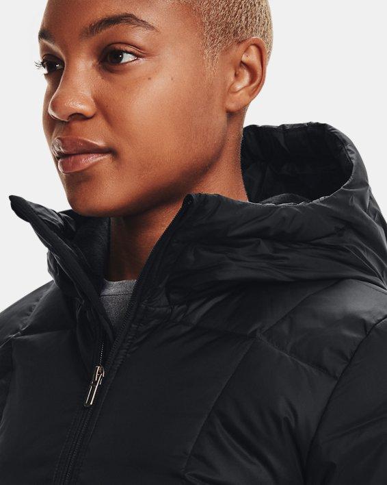 Women's UA Armour Down Hooded Jacket, Black, pdpMainDesktop image number 6