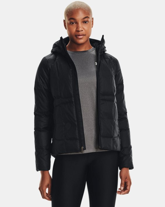 Women's UA Armour Down Hooded Jacket, Black, pdpMainDesktop image number 2