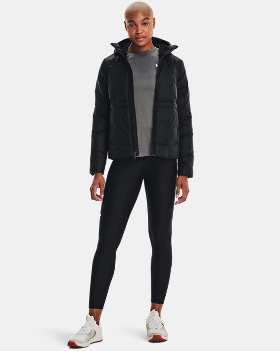 Women's UA Armour Down Hooded Jacket, Black, pdpMainDesktop image number 1
