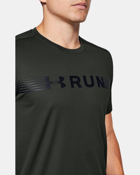 Men's UA Run Warped Short Sleeve, Green, pdpMainDesktop image number 5