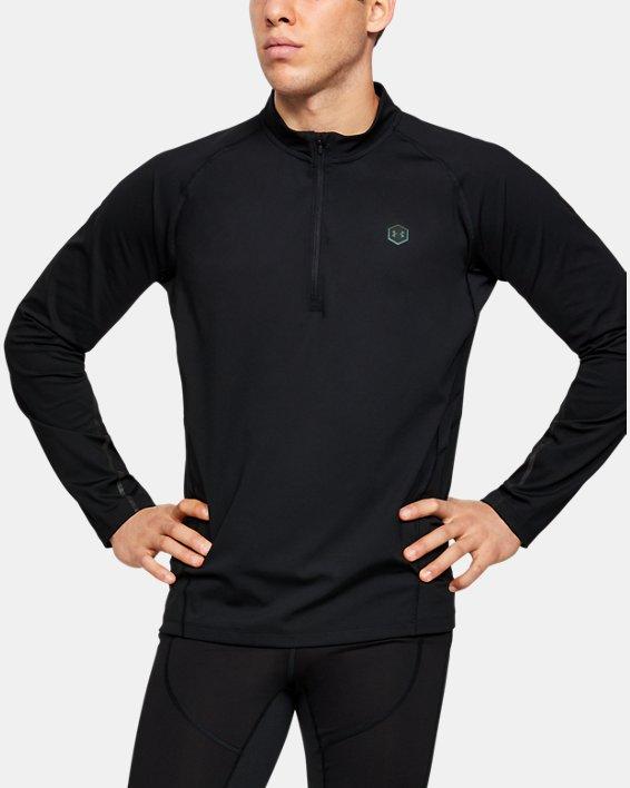 Men's UA RUSH™ ColdGear® Run ½ Zip, Black, pdpMainDesktop image number 0