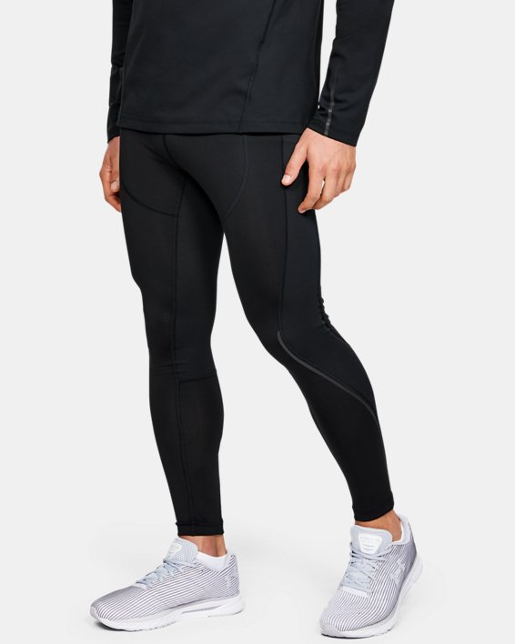 Men's UA RUSH™ ColdGear® Run Tights, Black, pdpMainDesktop image number 0