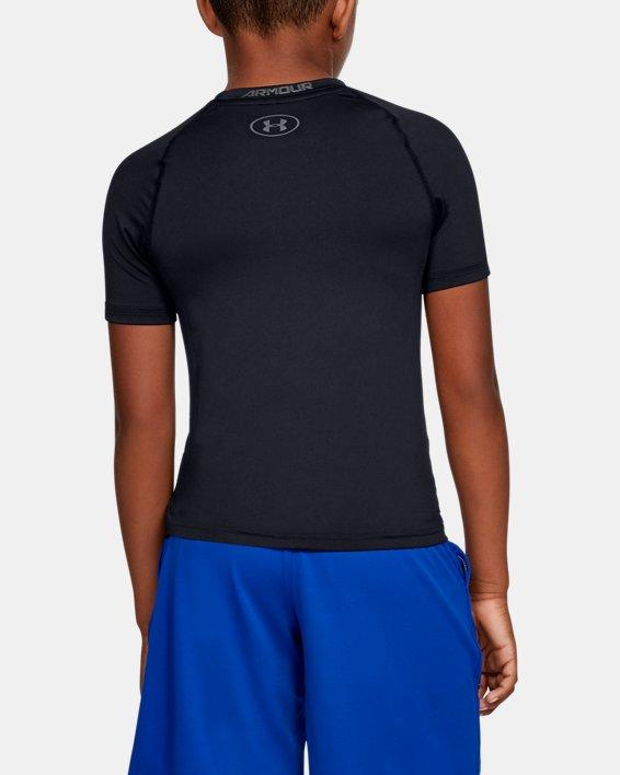 Boys' HeatGear® Armour Short Sleeve, Black, pdpMainDesktop image number 2
