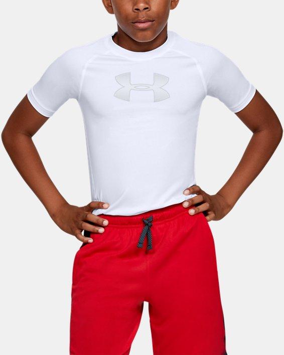 Boys' HeatGear® Armour Short Sleeve, White, pdpMainDesktop image number 0