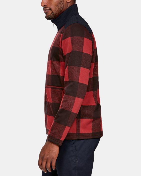 Men's UA Field Fleece Full Zip, Red, pdpMainDesktop image number 3