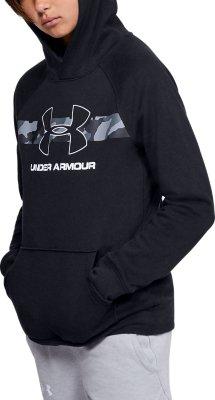 Under Armour Hoodie Youth XL Kids Boys BLACK UA Fleece hooded Top