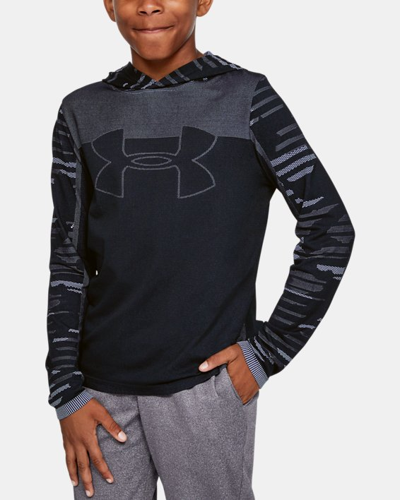Boys' UA Seamless Hoodie, Black, pdpMainDesktop image number 0
