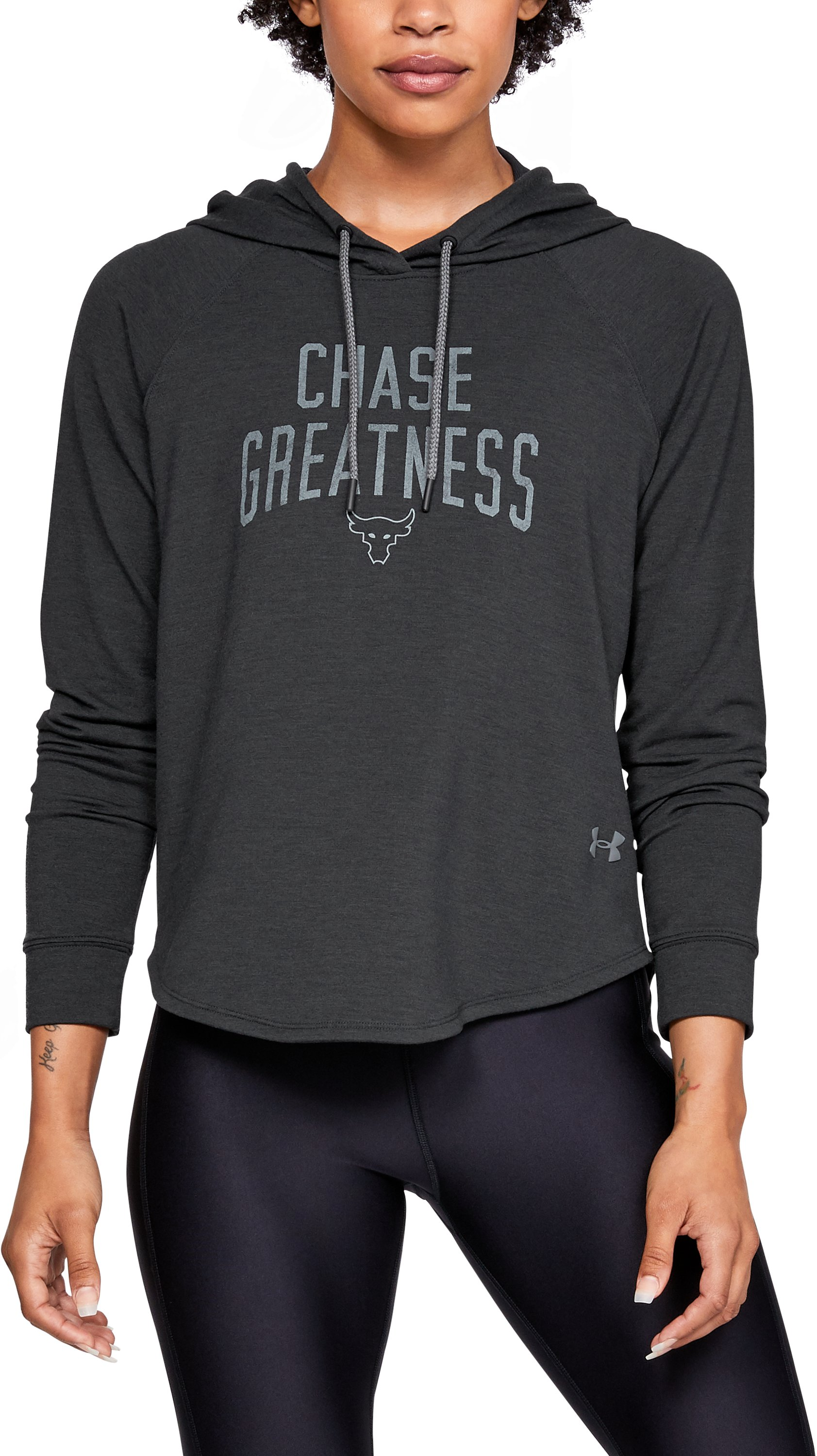 Women's UA x Project Rock Chase Greatness Hoodie, Black , zoomed