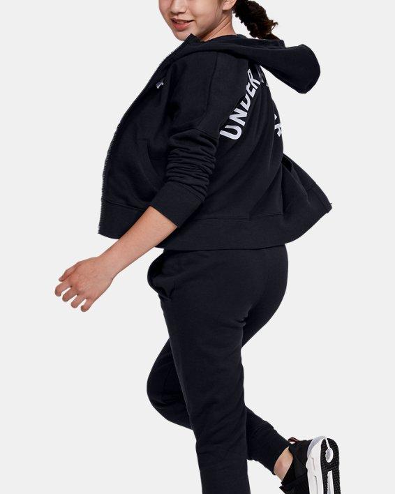 Girls' UA Rival Full Zip, Black, pdpMainDesktop image number 1