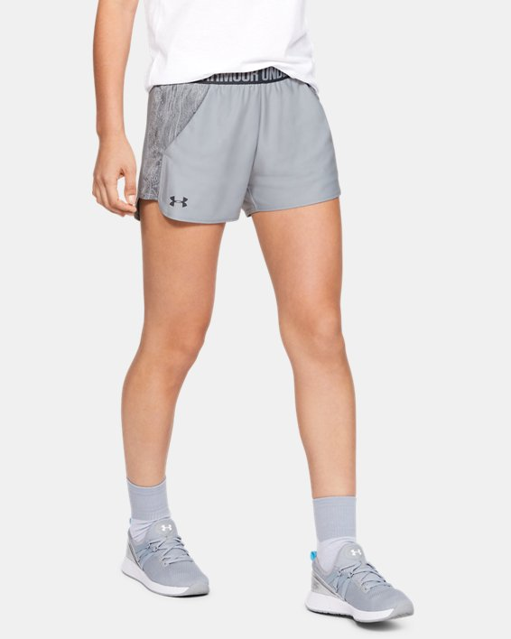 Women's UA Play Up Shorts Jacquard Inset, Gray, pdpMainDesktop image number 0