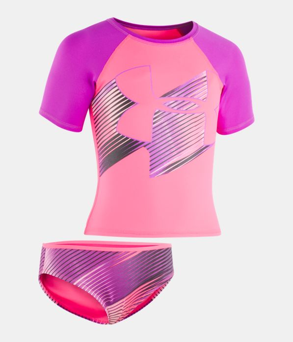 e498afa58697f Girls' UA Jetset Big Logo Rash Guard Set | Under Armour CA