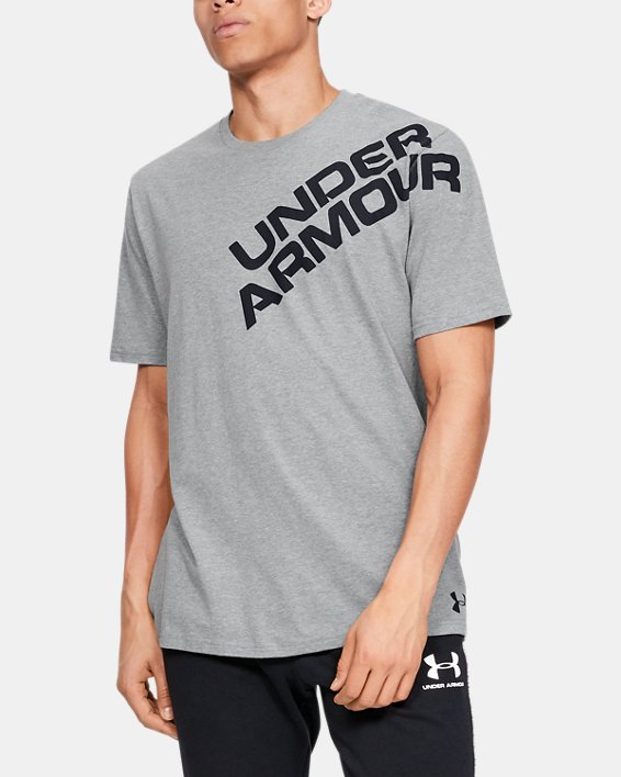 Men's UA Wordmark Shoulder Short Sleeve, Gray, pdpMainDesktop image number 0